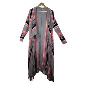 SAY WHAT Loose Knit Cardigan Multicolored Fringe Large
